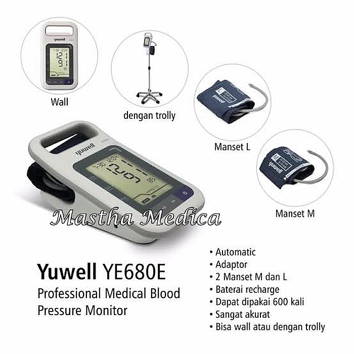 Tensimeter Digital Blood Pressure Monitor Yuwell 680 E With Trolly